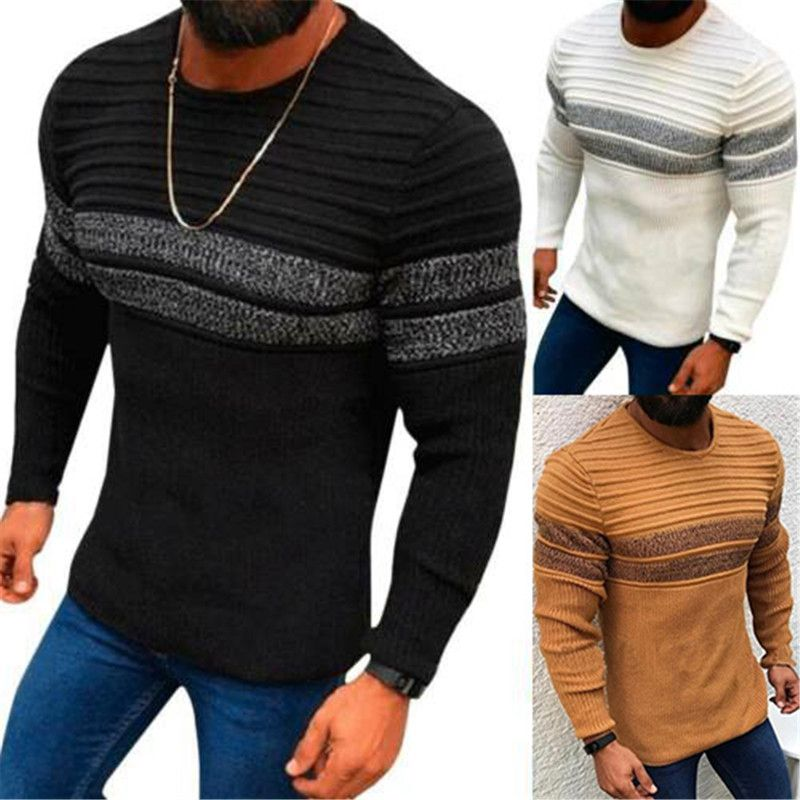 Mens Crew Neck Long Sleeve Chunky Cable Knit Jumper Pullover Winter Sweater Top