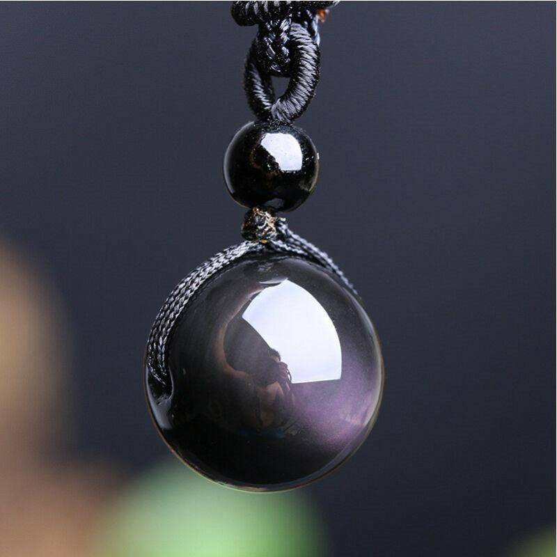 Necklace Pendant Black Obsidian Crystal Stone Rainbow Eye Natural Bead Ball