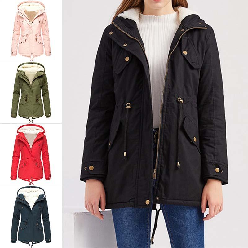 Womens Winter Fleece Lined Jacket Parka Ladies Warm Hooded Coat Outwear Overcoat