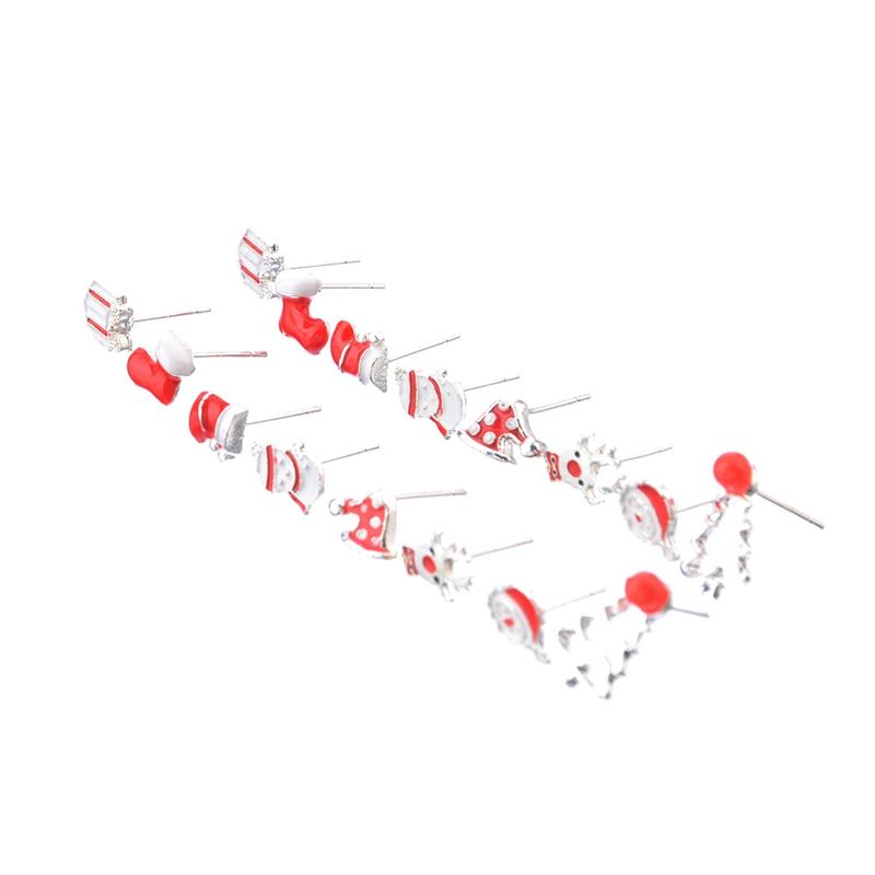 8Pairs Sterling Silver Christmas Earrings Studs Father Christmas Santa Reindeer