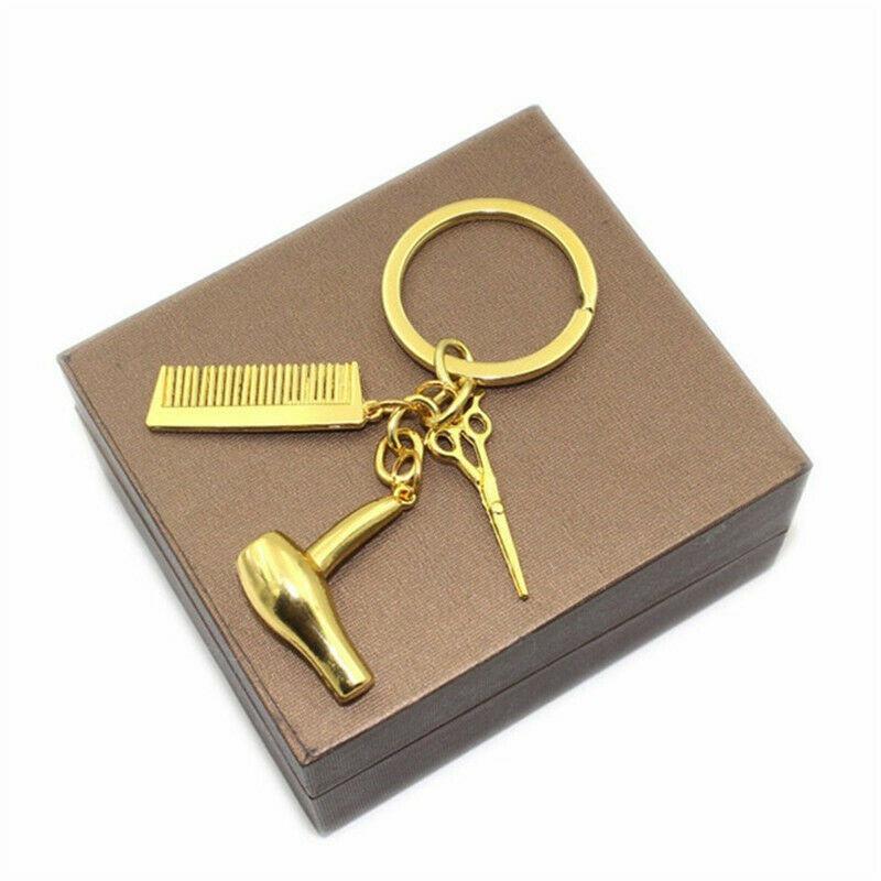 Hairdresser Hair Dryer Scissor Comb Key Chain Keychain Pendant Keyring Gift D