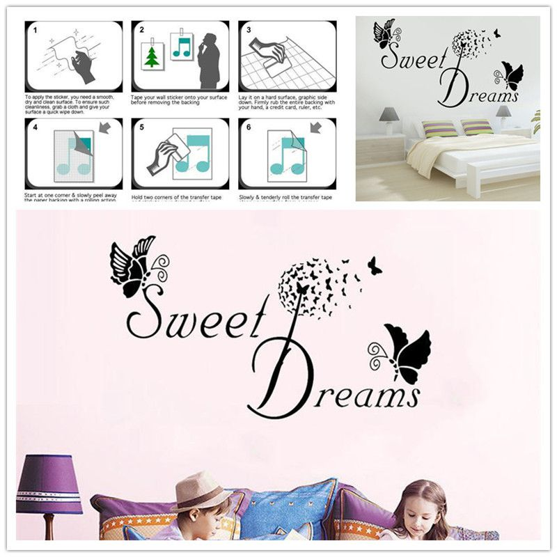 Sweet Dreams Butterfly Love Quote Wall Stickers Bedroom Decals Art Decor P5Q2