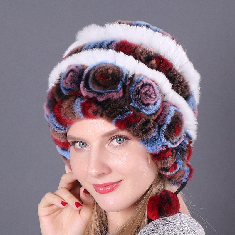 Hat Warmer Hats Beanie Soft Fur Rex Rabbit Fashion Ladies Winter Knitted Cap Hat