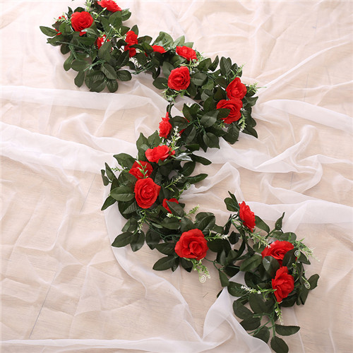Artificial Flower Garland Home Garden Decor 2.4m Wedding Rose Leaf Vine Ivy Silk