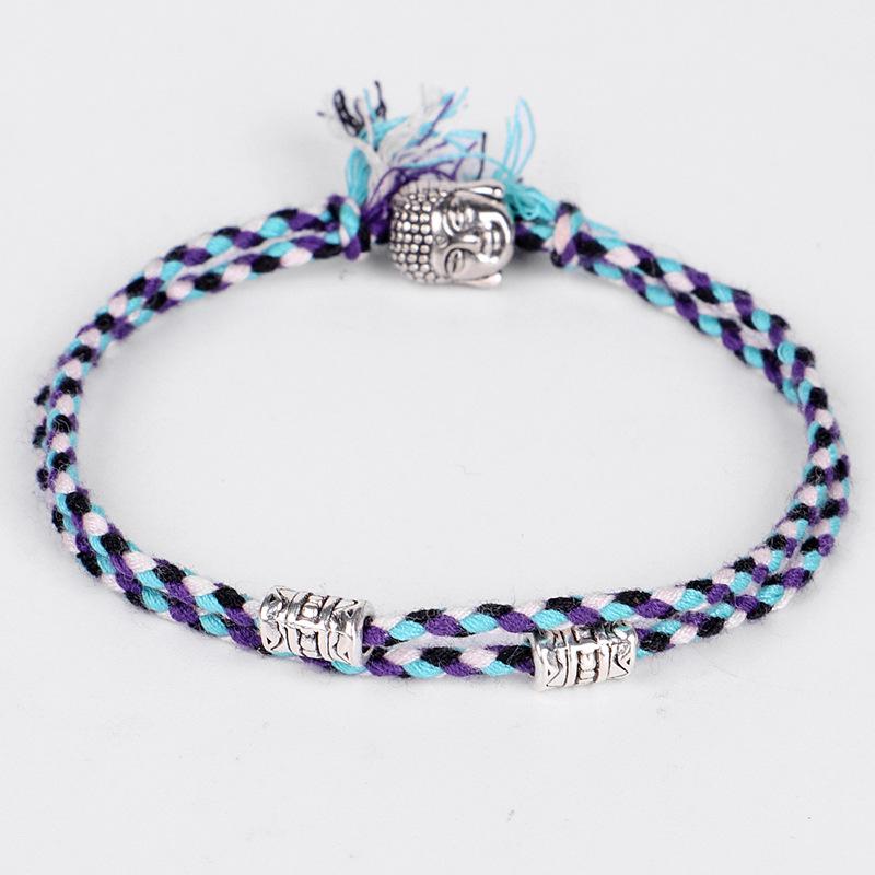 Bracelet Charm Boho Friendship Buddha Silver Adjustable Anklet Fashion Cotton