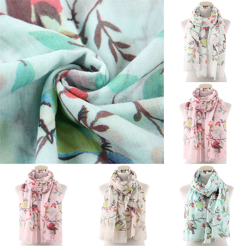 Holiday Robin Bird Scarf Women Ladies Neck Shawls Stole Wrap Fashion Scarves
