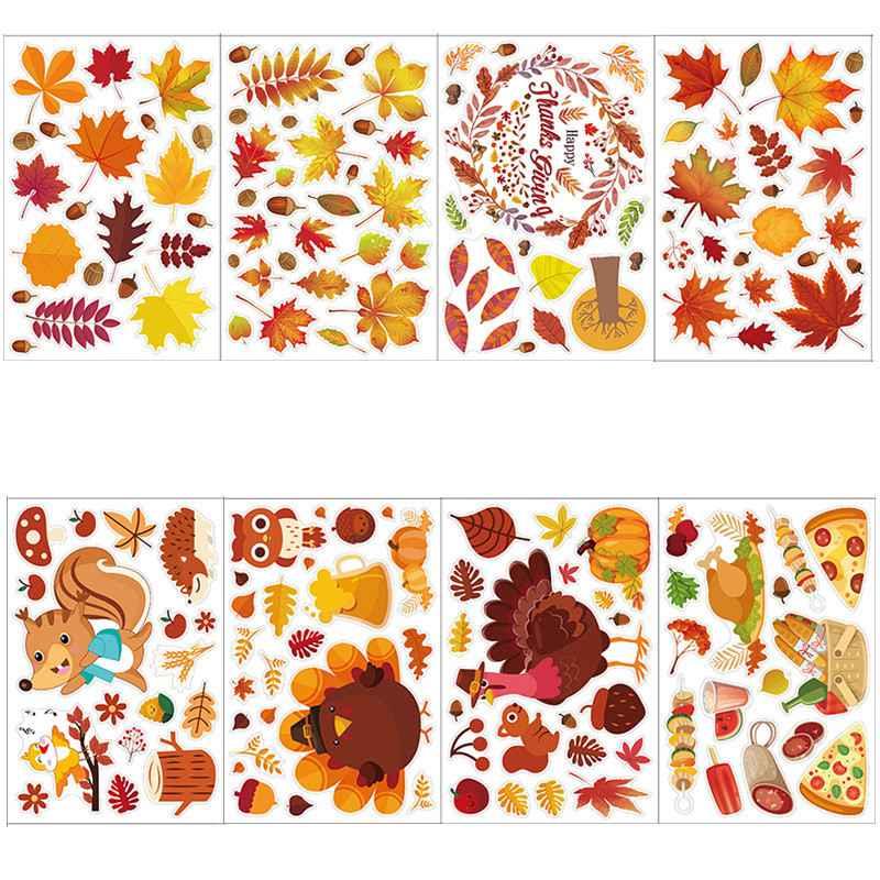 Thanksgiving Stickers Creative Turkey Thanksgiving Autumn Maple Leaf Holiday