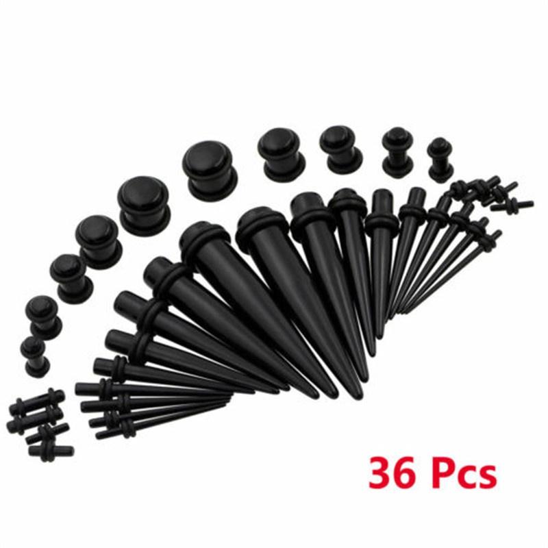 Gojiny 36Pcs Fashionable Acrylic Stretcher Ear Plug Taper Expander O-Ring Kit Ear Taper Kit