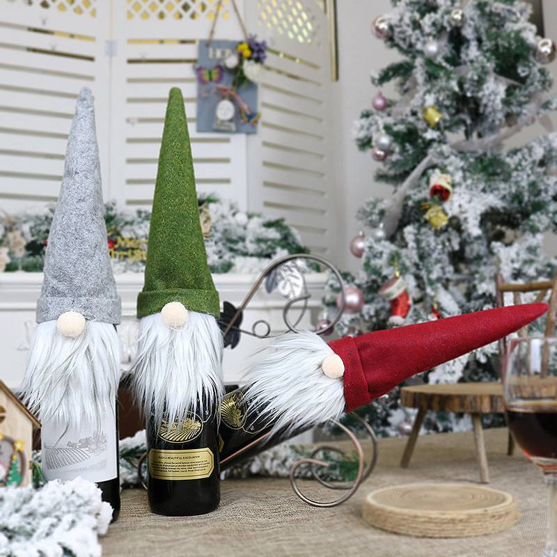 Details about  /Merry Christmas Dinner Table Decor Santa Xmas Party Gonk Wine Bottle Cover Bag