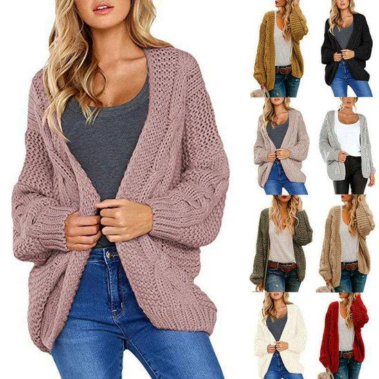 Knitted Coat Sleeve Long Cardigan Sweater Outwear Jumper Womens Chunky UK Jacket