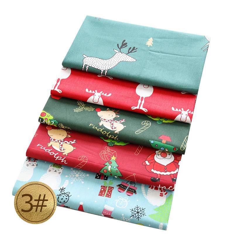 Noël Tissu Fat Quarter Bundle 100/% Coton Vert Rouge Festif Scandi Craft