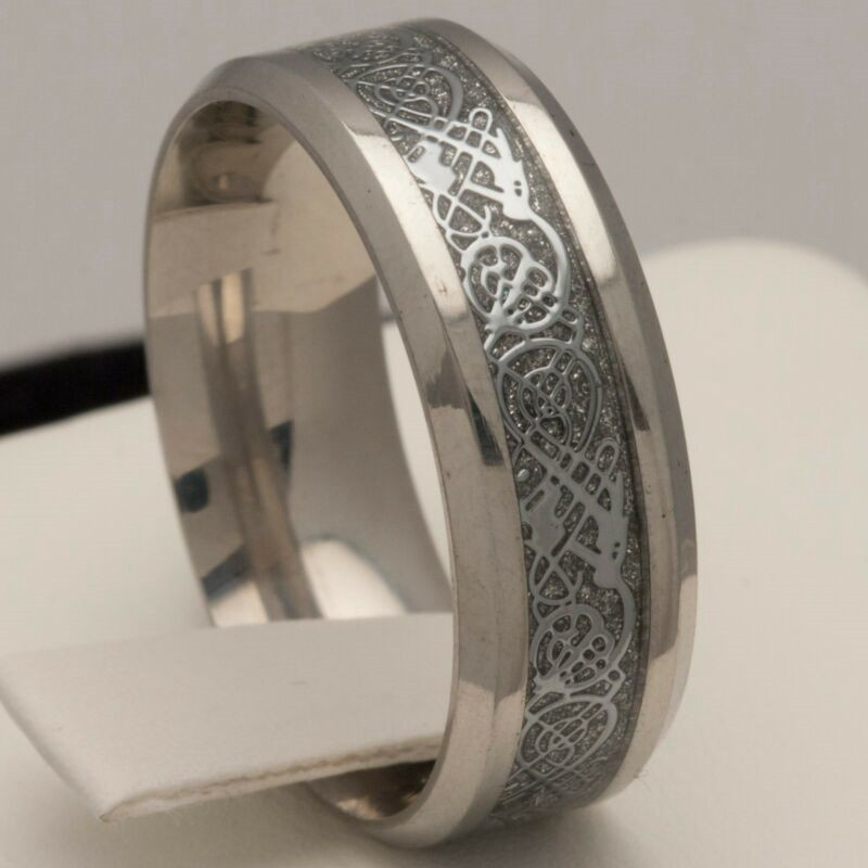 8mm Stainless Steel Mens /& Womens Wedding Band Silver Celtic Ring Size J to Z4