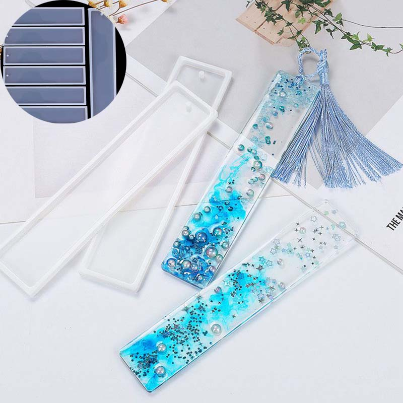 Bookmark Mold Epoxy Resin 2pcs Craft Silicone Jewelry DIY Making Rectangle Mould