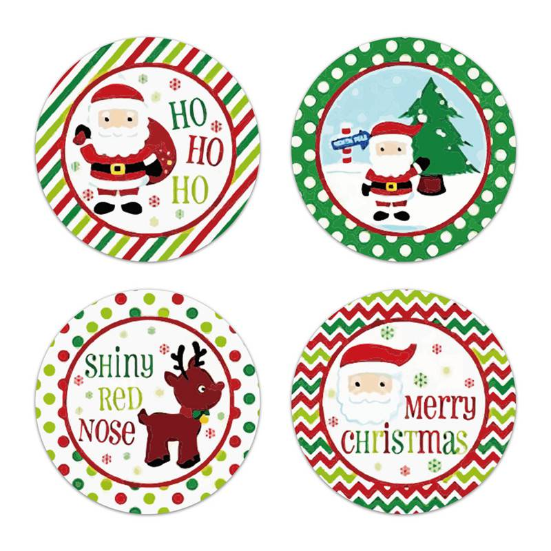 2020 NEW Merry Christmas Stickers Labels Gift 2.5//3.8CM 500Pcs Roll