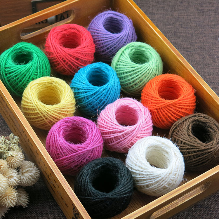 Multi-Colors Burlap Natural Fiber Jute Twine Rope Cord String for DIY Gift Christmas Decor 2MM 50M Twine String for Craft