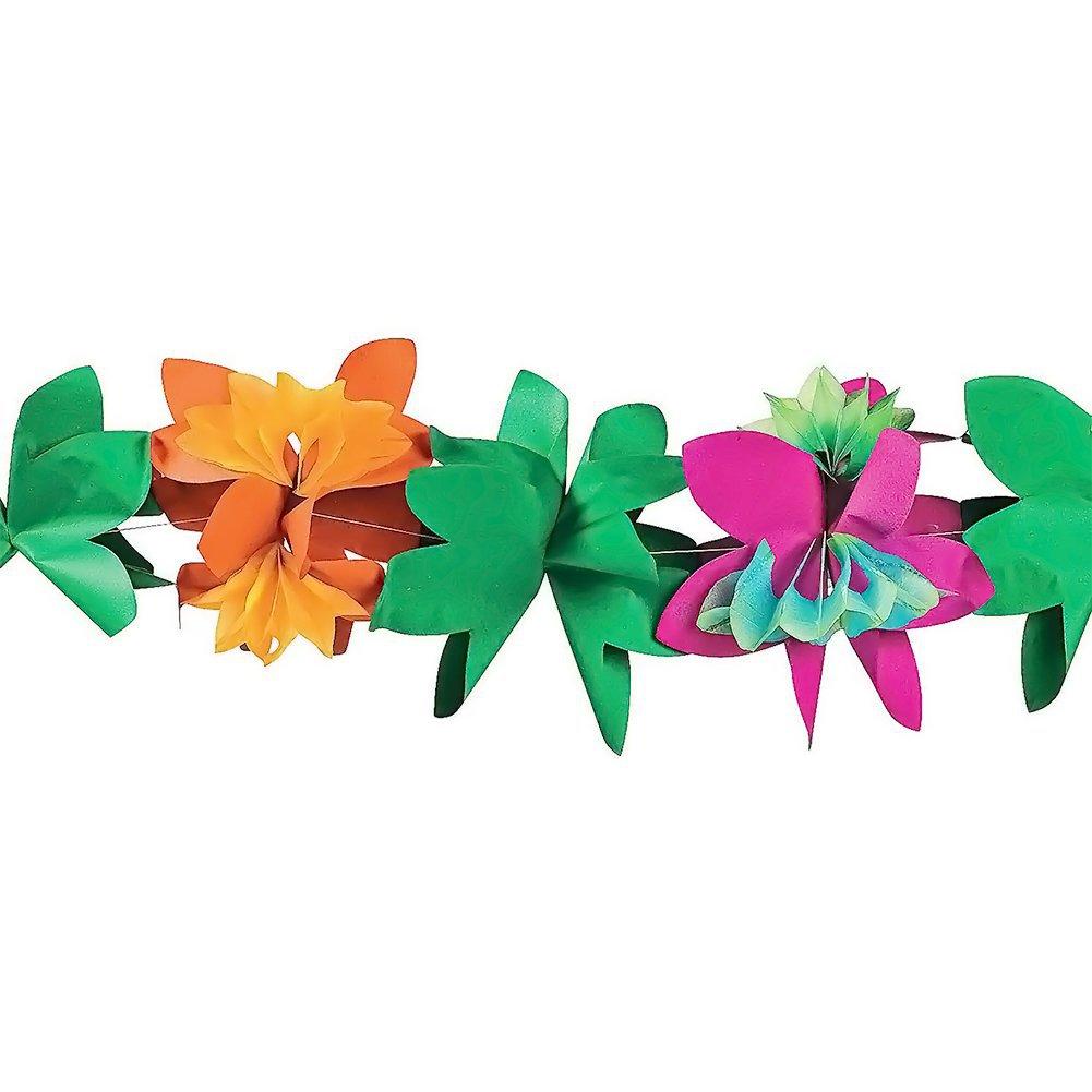 3M Hawaiian Tropical Paper Flower Garland Banner Summer Beach Luau Party Decor