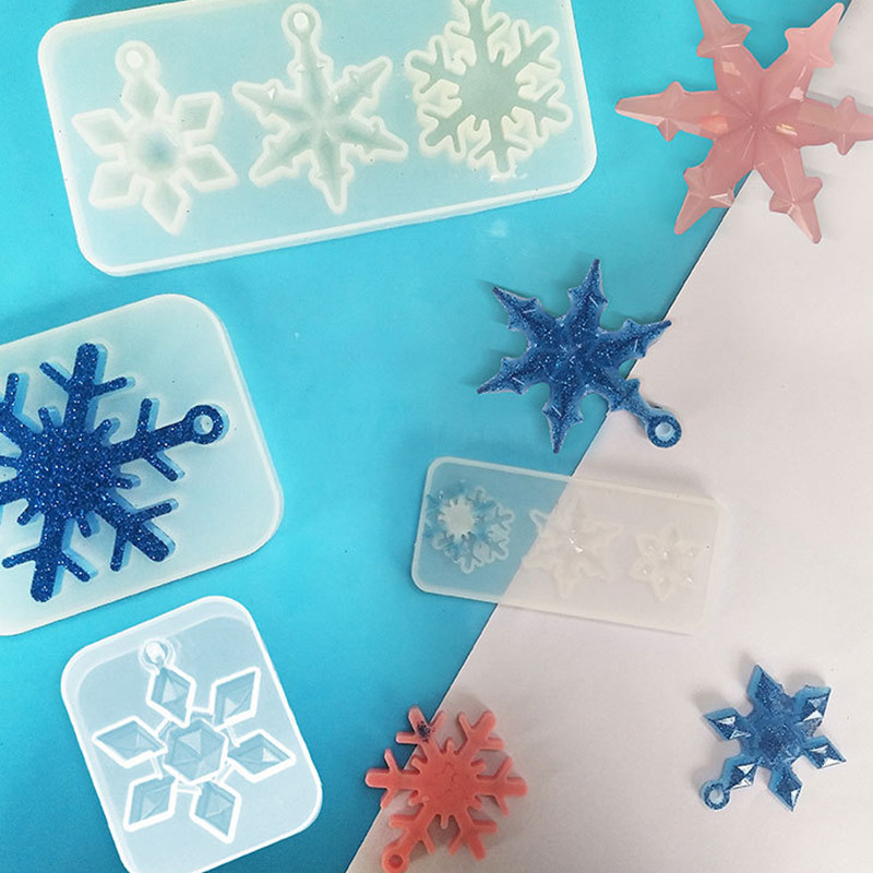 Silicone Crystal Epoxy Resin Mold Snowflake Pendant Casting Crafts Mould