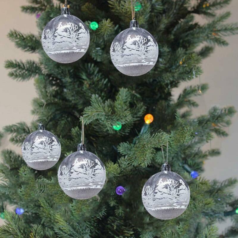 Details about  /6pcs Christmas Tree Decoration Transparent Plastic Balls Transparent Snow Globe