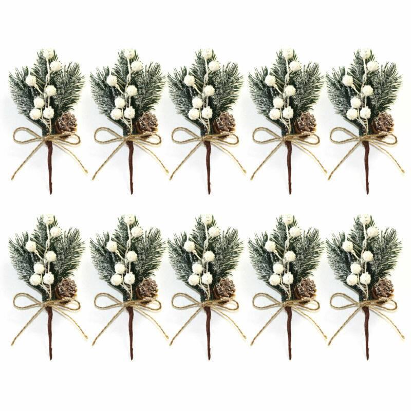Christmas Artificial Pine BranchOrnament Berry Pick 10X Xmas Decor Holly Flower