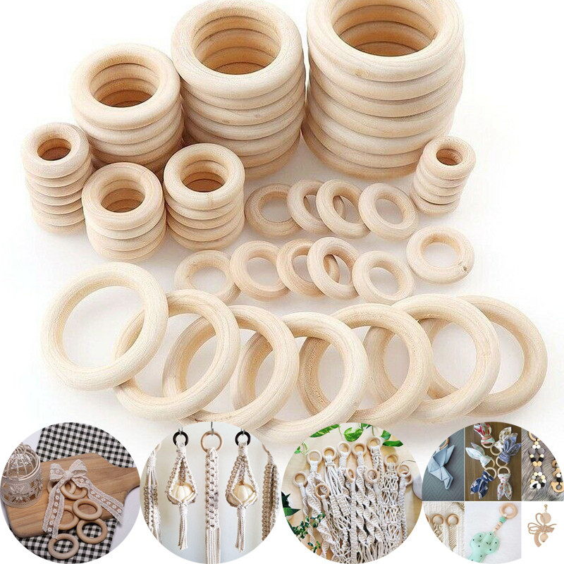5-50Pc Natural Wooden Round Rings DIY Necklace Jewellery Making Craft Decoration